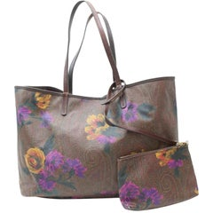 Etro Bordeaux Floral Paisley Tote with Pouch 869601 Burgundy Coated Shoulder Bag