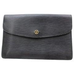 Louis Vuitton Montaigne Noir Envelope 869581 Black Leather Clutch