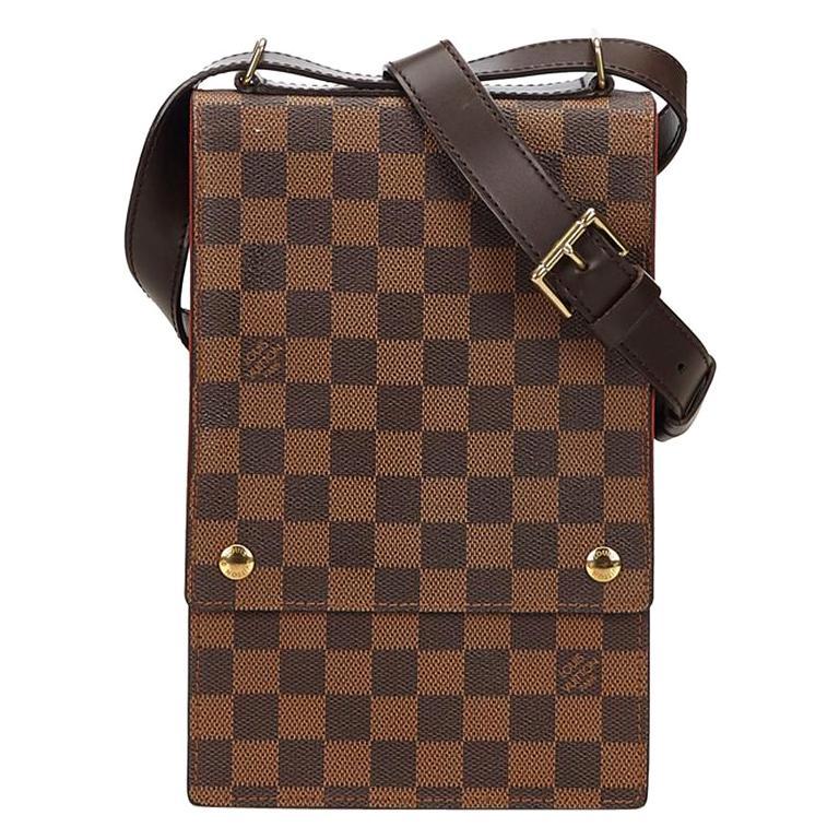 10ff26e57671 Louis Vuitton Portobello Damier Ebene 867998 Brown Coated Canvas Cross Body  Bag For Sale