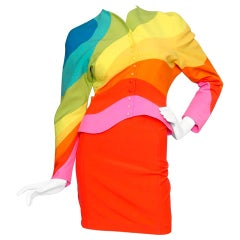 Iconic S/S 1990 Thierry Mugler Rainbow Wool Skirt Suit
