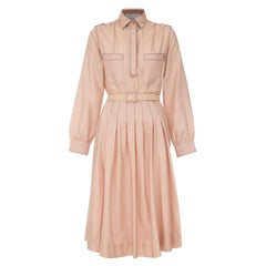 Vintage 1970s Early Label Bluemarine Pale Pink Silk Feel Shirt Dress