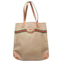 Gucci Monogram Sherry Interlock Web Large Shopper 869409 Brown Coated Canvas Tot