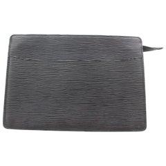 Louis Vuitton Pochette Noir Homme 869390 Black Leather Clutch