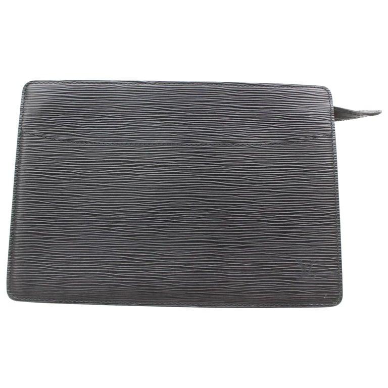 508b6f4a20d3 Louis Vuitton Pochette Noir Homme 869390 Black Leather Clutch For Sale