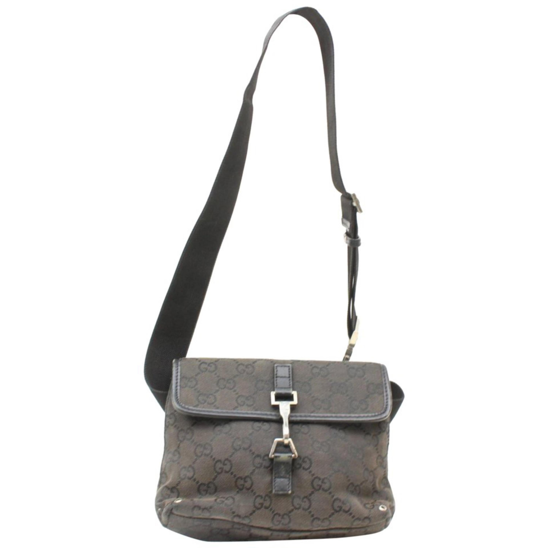 81a71299f1cc Gucci Monogram Gg Belt Fanny Pack Waist Pouch 869344 Black Canvas Shoulder  Bag For Sale at 1stdibs