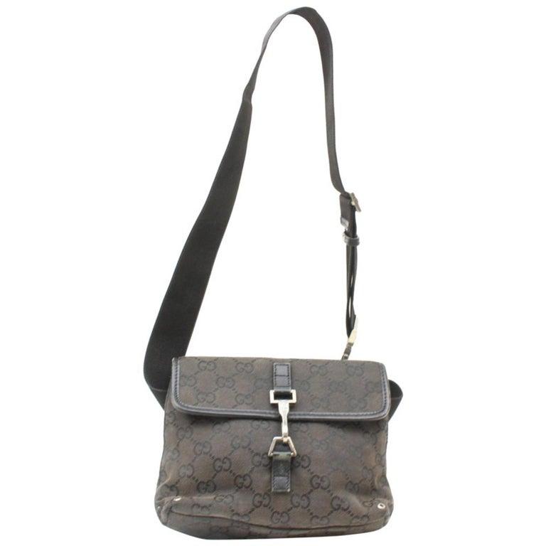 5fe4d6c2a713 Gucci Monogram Gg Belt Fanny Pack Waist Pouch 869344 Black Canvas Shoulder  Bag For Sale