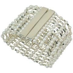 Carolee Sterling Silver & Faux Pearl Multi Strand Bracelet, C.1980