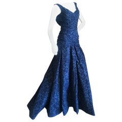 Zac Posen Vintage Blue Devore Velvet Evening Gown