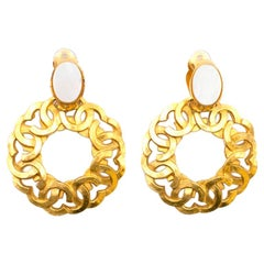 Chanel Vintage Clip-on Interlocking CC Hoop Pendant Earrings