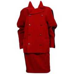 Jean Paul Gaultier Vintage Red Wool Blend Skirt Suit