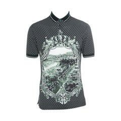 Dolce and Gabbana Green and White Printed Polka Dotted Knit Polo T-Shirt M
