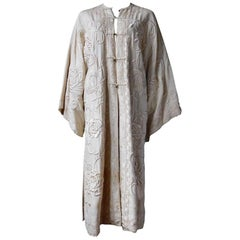Antique Chinese Cantonese Embroidered Coat Ivory White with Bronze Buttons