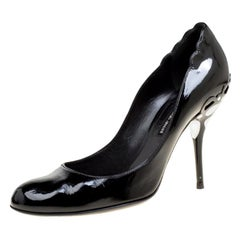 Giorgio Armani Black Patent Leather Pumps Size 40