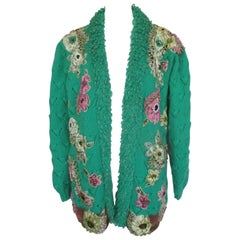 embroidered wool cardigan with flower appliqués