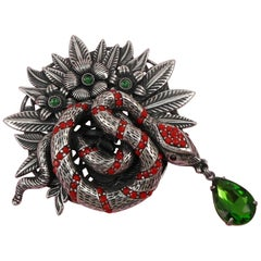 Awesome Signed Askew London Coiled Snake Serpent and Floral Estate Brooch Pin