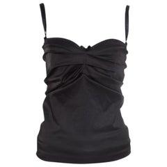 D&G Black Draped Lace Bodice Trim Detail Top M