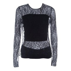 Dior Black Floral Lace Long Sleeve Top M