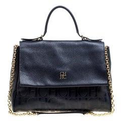 Carolina Herrera Blue Leather Minuetto Top Handle Flap Shoulder Bag