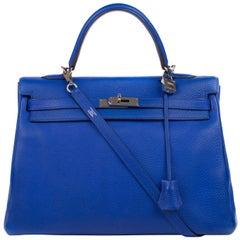 Hermes Kelly 35cm Blue Taurillon Clemence PHW O stamp Handbag