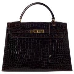 Hermes Kelly 32 Brown Crocodile Leather Bag