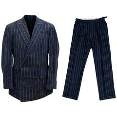 Ralph Lauren Purple Label Men's Blue Pinstripe Suit Size M