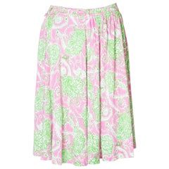 Prada Green , Pink and White Silk Jersey Skirt