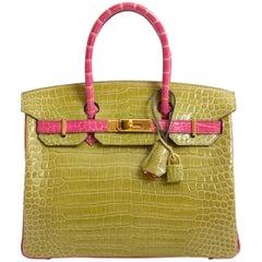 Hermès Birkin 30 Crocodile Porosus GHW Vert Anis / Rose Sheherazade