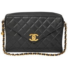 1994 Chanel Black Quilted Caviar Leather Vintage Maxi Jumbo XL Camera Bag