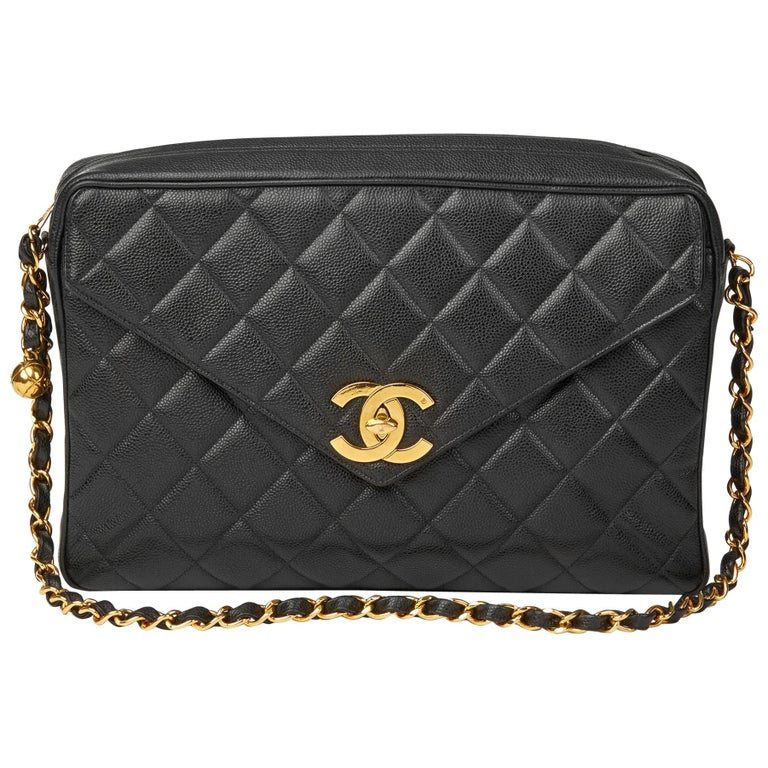 be244048e8bc 1994 Chanel Black Quilted Caviar Leather Vintage Maxi Jumbo XL Camera Bag  For Sale