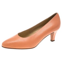 Celine Peach Pink Leather Pumps Size 37.5