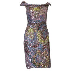 Jenny Packham Multi Colour Sequin Cocktail Dress