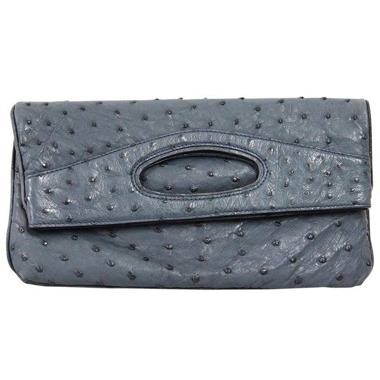 2000s Loro Piana Ostrich Leather Clutch For Sale