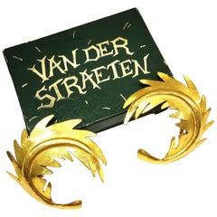 Wonderful large gilded metal 'leaf' earrings, Herve Van Der Straeten, 1980s.