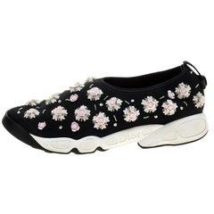 Dior Black Mesh Fusion Floral Embellished Slip On Sneakers Size 41
