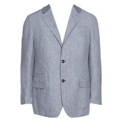 Ermenegildo Zegna Grey Linen Ribbed Collar Detail Blazer XL
