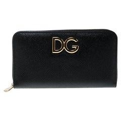 Dolce & Gabbana Black Leather Logo Zip Around Wallet