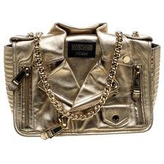 Moschino Gold Leather Large Capsule Biker Jacket Shoulder Bag