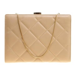 Carolina Herrera Beige Leather Chain Clutch