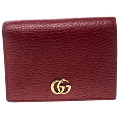 Gucci Red Leather Double G Card Case
