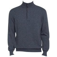Ermenegildo Zegna Grey Premium Cashmere Zip Detail Ribbed Trim Sweater M