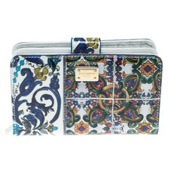 Dolce & Gabbana White/Multicolor Print Patent Leather French Wallet