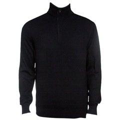 Ermenegildo Zegna Premium Cashmere Black Zip Detail Sweater M