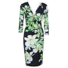 Roberto Cavalli Black Floral Printed Knit Long Sleeve Brooch Detail Dress M