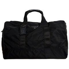 Prada Black Nylon 55cm Duffle Weekend Bag W/ Luggage Tag