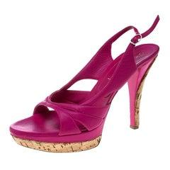 Casadei Pink Leather Slingback Platform Sandals Size 39