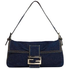 Fendi Blue Denim Baguette Bag W/ Logo Buckle