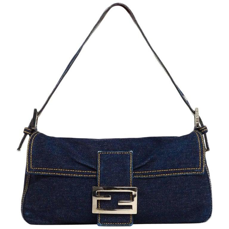 Fendi Blue Denim Baguette Bag W/ Logo Buckle