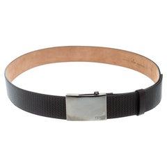 Fendi Dark Brown Embossed Leather Military Belt 105cm