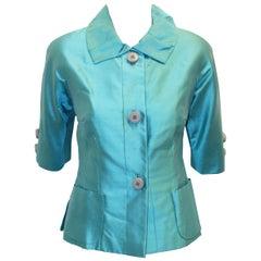 Paola Quadretti Silk Turquoise Jacket