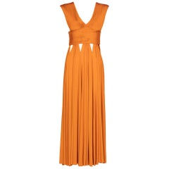 Givenchy Orange Jersey Leather Cut-Out Maxi Dress, 2014